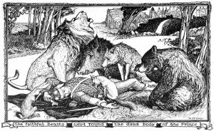 The Faithful Beasts Weep Around the Body of the Dead Prince by Henry Justice Ford