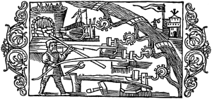 A woodcut of a man using a forge