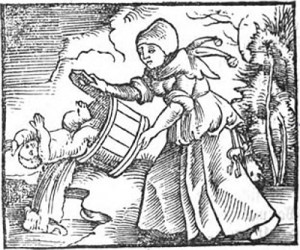 A woman empties a pail of bathwater and a baby into a stream