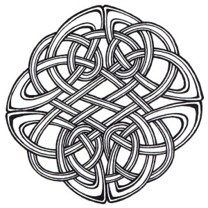 a hand drawn celtic knot in the round